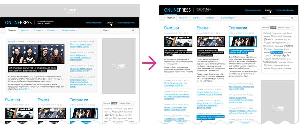 Пример «безболезненного» перемещения,  изменения/удаления блоков сайта