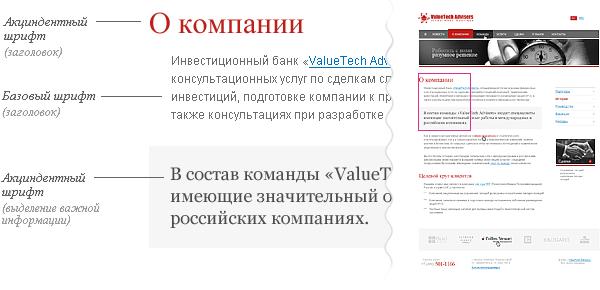 Шрифтовая схема на примере сайта ValueTech